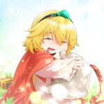 1girl bangs blonde_hair capelet closed_eyes crossed_bangs crying emerald_(gemstone) eyebrows_visible_through_hair guardian_tales hairband helmet highres holding kaho_(amal135) little_princess_(guardian_tales) open_mouth red_capelet short_hair tears