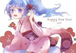 1girl 2021 7aka_ne11 :d arm_support blue_eyes blue_hair blue_slime blush commentary eyebrows_visible_through_hair floral_background floral_print flower flower_request furisode hair_flower hair_ornament hair_up hand_up happy_new_year in_container japanese_clothes jar kimono liquid_hair loli long_hair looking_at_viewer merc_(merc_storia) merc_storia minigirl monster_girl nengajou new_year obi open_mouth pink_kimono ponytail print_kimono round_teeth sash simple_background slime_girl smile solo teeth upper_body upper_teeth waist_bow white_background