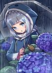 1girl :o animal_costume animal_hood arimoto_wataru arms_up bangs blue_eyes blue_hair blue_hoodie blunt_bangs dark_sky eyebrows_visible_through_hair facing_viewer flat_chest flower gawr_gura highres holding hololive hololive_english hood hoodie lavender_(flower) light_blush long_sleeves medium_hair multicolored_hair open_mouth outdoors plant rain reflection shark_costume shark_girl shark_hood sharp_teeth shiny shiny_hair silver_hair sky snail solo standing streaked_hair teeth tongue umbrella v-shaped_eyebrows virtual_youtuber white_hair wide_sleeves
