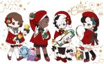 2boys 2girls bow brother_and_sister brown_eyes brown_hair christmas commentary dark_skin dark_skinned_male galarian_form galarian_zigzagoon gen_6_pokemon gen_8_pokemon gloria_(pokemon) goomy hair_ornament hat hatted_pokemon highres instrument keyboard_(instrument) long_sleeves marnie_(pokemon) merry_christmas morpeko morpeko_(full) multiple_boys multiple_girls music pantyhose piers_(pokemon) playing_instrument pokemon pokemon_(creature) pokemon_(game) pokemon_swsh raihan_(pokemon) red_footwear red_headwear santa_hat shoes shorts siblings sobble standing tambourine white_legwear younger zigzagdb