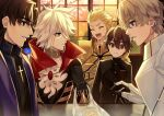 5boys armor bag bangs black_gloves blonde_hair blue_eyes brown_eyes brown_hair cake cherry_blossoms choker cross eyebrows_visible_through_hair fate/extra fate/extra_ccc fate_(series) food gauntlets gawain_(fate) gem gilgamesh gloves hair_between_eyes indoors jewelry karna_(fate) karokuchitose kishinami_hakuno_(male) kotomine_kirei laughing male_focus multiple_boys plastic_bag popped_collar school_uniform single_earring surprised swiss_roll white_hair window