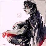 1boy arkeresia blood bloody_hands bloody_nose crossed_legs daisaku_kuze glasses greyscale highres irezumi jacket jacket_on_shoulders mature missing_finger monochrome old old_man pants ryuu_ga_gotoku ryuu_ga_gotoku_0 sitting tattoo white_background yakuza