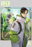 1boy apex_legends belt black_eyes black_hair copyright_name crypto_(apex_legends) cyborg drone from_side green_sleeves hack_(apex_legends) hands_in_pockets jacket logo looking_at_viewer male_focus passimo science_fiction solo_focus undercut v-shaped_eyebrows white_jacket