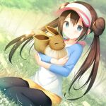 1girl bangs black_legwear blush bow brown_hair closed_mouth commentary_request double_bun eevee gen_1_pokemon grass grey_eyes hair_between_eyes holding holding_pokemon kamowasa legwear_under_shorts long_hair pantyhose pink_bow pokemon pokemon_(creature) pokemon_(game) pokemon_bw2 raglan_sleeves rosa_(pokemon) shirt short_shorts shorts sitting smile tree twintails visor_cap yellow_shorts