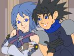 1boy 1girl aqua_(kingdom_hearts) armor bare_shoulders black_hair blue_eyes blue_hair commentary crisis_core_final_fantasy_vii crossed_arms english_commentary eye_contact eyelashes final_fantasy final_fantasy_vii gloves ian_dimas_de_almeida kingdom_hearts kingdom_hearts_birth_by_sleep link:_the_faces_of_evil looking_at_another nail_polish parody parted_lips pillar smile spiky_hair style_parody the_legend_of_zelda_(cd-i) younger zack_fair