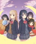 6+girls :d adachi_sakura adachi_to_shimamura adjusting_eyewear black_hair blazer blush bow brown_hair chestnut_mouth chikama_yashiro clouds everyone glasses hair_ornament hairclip highres hino_akira_(adashima) holding_hands jacket kumakumatc light_brown_hair medium_hair multiple_girls nagafuji_taeko open_mouth outdoors paddle petals purple_hair red_neckwear red_scarf scarf school_uniform shimamura_hougetsu shimamura_imouto_(adashima) smile space_helmet standing table_tennis_paddle yuri