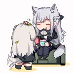 2girls afterimage ak-12_(girls_frontline) an-94_(girls_frontline) animal_ears bangs bowl braid chibi closed_eyes closed_mouth dog_ears dog_girl dog_tail eyebrows_visible_through_hair food french_braid frisbee girls_frontline highres long_hair long_sleeves multiple_girls pants petting simple_background sitting smile standing tail tail_wagging white_background yuutama2804