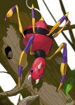 absurdres ariados blurry bug commentary_request fangs full_body gen_2_pokemon highres leaf moss no_humans pokemon pokemon_(creature) silk spider spikes tree violet_eyes white_background yuyu_ekaki_dayo