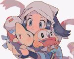 1girl blue_hair blush cheek_press cyndaquil female_protagonist_(pokemon_legends:_arceus) floating_scarf gen_2_pokemon gen_5_pokemon gen_7_pokemon grey_eyes head_scarf hinann_bot holding holding_pokemon oshawott pokemon pokemon_(creature) pokemon_(game) pokemon_legends:_arceus red_scarf rowlet scarf shared_scarf smile starter_pokemon_trio upper_body white_headwear