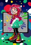 1990s_(style) 1girl black_pants full_body green_eyes green_jacket hands_in_pockets highres jacket multicolored multicolored_clothes multicolored_jacket octoling open_mouth pants pointy_ears potiri02 red_jacket redhead retro_artstyle shoes short_eyebrows smile sneakers solo splatoon_(series) standing tentacle_hair v-shaped_eyebrows white_jacket