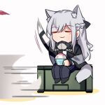 1girl ak-12_(girls_frontline) animal_ears bangs bowl braid chibi closed_eyes closed_mouth dog_ears dog_girl dog_tail eyebrows_visible_through_hair food french_braid girls_frontline highres long_hair long_sleeves motion_lines pants sidelocks simple_background sitting smile solo standing tail white_background yuutama2804