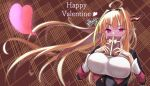 1girl absurdres ahoge bangs black_hairband black_jacket blonde_hair blush bow box box_of_chocolates braid breasts commentary_request covered_mouth diagonal-striped_bow dragon_girl dragon_horns embarrassed eyebrows_visible_through_hair floating_hair gift hairband happy_valentine heart highlights highres holding holding_gift hololive horn_bow horns jacket kiryu_coco large_breasts long_hair looking_at_viewer multicolored multicolored_eyes multicolored_hair orange_hair patterned_background pointy_ears red_eyes shirt side_braid sidelocks single_braid slit_pupils solo sora_shitatoge streaked_hair striped striped_bow upper_body valentine very_long_hair violet_eyes virtual_youtuber white_shirt