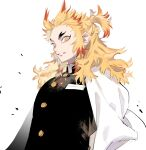 1boy artist_name belt blonde_hair cape eyelashes flame_print flaming_sword flaming_weapon grin haori high_collar highres japanese_clothes kimetsu_no_yaiba kyou_zuki light_particles male_focus multicolored_hair redhead rengoku_kyoujurou sheath sidelocks simple_background smile solo sword thick_eyebrows toned toned_male tsurime two-tone_hair uniform unsheathing weapon white_background white_belt white_cape