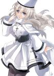 1girl absurdres azur_lane belt black_belt black_legwear blonde_hair blue_eyes coat cross cross_necklace dress eyebrows_visible_through_hair hand_up heterochromia highres jewelry long_hair looking_at_viewer masato_(mstlp) murmansk_(azur_lane) necklace northern_parliament_(emblem) open_mouth pantyhose papakha solo standing violet_eyes white_background white_coat white_dress white_headwear winter_clothes winter_coat