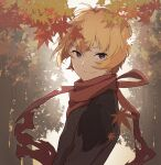 1boy ahoge autumn autumn_leaves billy_the_kid_(fate) black_eyes blonde_hair brown_shirt eyebrows fate/grand_order fate_(series) highres leaves_in_wind long_sleeves looking_at_viewer male_focus nature outdoors red_scarf scarf shirt short_hair smile solo sunlight tattered_scarf thunderstriker tree upper_body