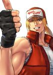 1boy absurdres baseball_cap beniazumaru blonde_hair blue_eyes fingerless_gloves gloves hat highres jacket long_hair looking_at_viewer male_focus muscular ponytail smile snk solo terry_bogard the_king_of_fighters vest