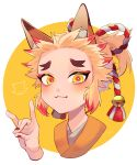 1boy :3 animal_ears bell blonde_hair blush disembodied_limb eyelashes eyeshadow forehead fox fox_boy fox_ears fox_shadow_puppet hair_bell hair_intakes hair_ornament hair_up highres japanese_clothes kameoka908 kimetsu_no_yaiba kimono makeup male_focus multicolored_hair ponytail red_eyeshadow red_nails redhead rengoku_senjurou ribbon shiny shiny_skin simple_background smile solo two-tone_hair yellow_eyes