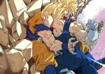 2boys absurdres after_(artist) battle blonde_hair blood bruise clenched_teeth dougi dragon_ball dragon_ball_z facial_mark forehead_mark gloves highres injury majin_vegeta male_focus multiple_boys muscular muscular_male punching rock son_goku spiky_hair super_saiyan super_saiyan_2 teeth vegeta veins white_gloves