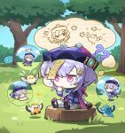 1girl ? ?? artist_request bangs bead_necklace beads bird book braid chibi closed_eyes coin day dress finger_to_mouth flower genshin_impact grass hair_ornament hat jewelry jiangshi leaf long_hair long_sleeves necklace notice_lines ofuda open_book open_mouth outdoors purple_hair purple_headwear qing_guanmao qiqi_(genshin_impact) sitting sketch sky slime_(creature) solo speech_bubble stretch sweat thigh-highs tree tree_stump violet_eyes vision_(genshin_impact) yellow_flower