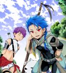 1other 2boys animal arms_behind_back asymmetrical_bangs asymmetrical_clothes bangs belt blue_hair blue_sky bodysuit_under_clothes bracelet braid braided_ponytail capelet chest_strap child closed_eyes clothing_cutout covered_navel cu_chulainn_(fate)_(all) dog earrings fang fate/grand_order fate/grand_order_arcade fate_(series) fergus_mac_roich_(fate) fergus_mac_roich_(young)_(fate) grin hand_on_hip holding holding_staff jewelry long_hair looking_at_viewer male_focus multiple_boys navel open_mouth outdoors ponytail puppy purple_hair red_eyes setanta_(fate) short_hair shorts skin_tight sky slit_pupils smile spiky_hair staff thigh_cutout wakatobi_chakku