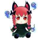 1girl animal_ears bangs black_bow black_footwear bow braid cat_ears closed_mouth dress full_body fumo_(doll) gradient_dress green_dress hair_bow highres hitodama kaenbyou_rin lis long_hair long_sleeves looking_at_viewer red_eyes redhead side_braids signature simple_background smile solo touhou twin_braids white_background
