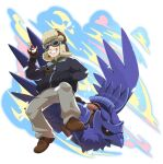 1boy brown_footwear brown_gloves cabbie_(pokemon) clenched_teeth collared_shirt commentary_request corviknight fingerless_gloves gen_8_pokemon gloves goggles green_shirt hand_in_pocket hand_up hat holding holding_poke_ball jacket kooeiatd111020 long_sleeves male_focus pants poke_ball poke_ball_(basic) pokemon pokemon_(creature) pokemon_(game) pokemon_swsh shirt shoes smile teeth zipper_pull_tab