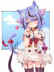 1other :3 absurdres androgynous animal_ears ass_visible_through_thighs bell blue_hair blue_sky blush cat_ears cat_tail clouds collar commentary cowboy_shot dress etogami_kazuya garter_straps garters gradient_hair gynoid_talk hair_flaps highres holding holding_leash leash looking_at_viewer meika_mikoto multicolored_hair neck_bell neck_ribbon one_eye_closed panties pantyshot paw_pose pink_eyes pink_hair red_nails red_neckwear red_panties ribbon sailor_collar skindentation sky smile solo standing tail tail_ornament tail_ribbon underwear utility_pole vocaloid white_collar white_dress wrist_straps