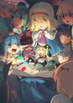 6+girls absurdres alice_margatroid animal_ears antennae apron bangs black_headwear black_skirt black_vest blonde_hair bloomers blue_bow blue_capelet blue_eyes blue_hair blue_skirt boa_(brianoa) book bow brown_hair capelet cat_ears character_doll chen cirno claws clownpiece commentary daiyousei english_commentary floral_print gohei green_hair grey_background hair_bow hair_ribbon hairband hakurei_reimu hand_on_another's_head hat highres jester_cap kirisame_marisa long_hair long_sleeves luna_child mob_cap multiple_girls open_book open_mouth orange_hair pink_eyes pink_headwear pink_neckwear polka_dot_headwear pop-up_book puppet_rings red_bow red_hairband red_ribbon red_skirt red_vest ribbon rose_print rumia shirt short_hair skirt smile star_sapphire sunny_milk touhou twitter_username underwear vest waist_apron white_bow white_shirt witch_hat wriggle_nightbug yellow_eyes