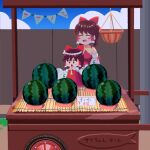 2girls absurdres ascot bangs basket blue_sky blush bow brown_eyes brown_hair closed_eyes clouds commentary_request cookie_(touhou) detached_sleeves dress eyebrows_visible_through_hair food frilled_bow frilled_hair_tubes frills fruit hair_bow hair_tubes hakurei_reimu highres minigirl multiple_girls number open_mouth outdoors psychic_parrot red_bow red_dress red_shirt reu_(cookie) ribbon-trimmed_sleeves ribbon_trim sakenomi_(cookie) shirt short_hair sky sleeveless sleeveless_shirt sleeves_past_wrists stall standing sweat touhou translation_request triangle_mouth upper_body watermelon white_sleeves yellow_neckwear yen_sign |d