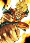 1boy absurdres amputee blonde_hair dougi dragon_ball dragon_ball_z fighting_stance foreshortening green_eyes highres huge_filesize incoming_attack looking_at_viewer male_cleavage male_focus muscular muscular_male older orange_pants orange_shirt punching scar scar_across_eye shirt solo son_gohan_(future) spiky_hair studio_viga torn_clothes torn_shirt