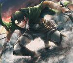 040shao 1boy ascot bangs black_eyes black_hair blood blood_on_face bloody_clothes boots brown_footwear brown_jacket cape clenched_teeth commentary dual_wielding full_body green_cape highres holding holding_sword holding_weapon jacket levi_(shingeki_no_kyojin) long_sleeves looking_ahead male_focus pants paradis_military_uniform shingeki_no_kyojin short_hair solo squatting sword teeth thigh_strap three-dimensional_maneuver_gear weapon white_neckwear white_pants