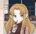 1girl alternate_costume aqua_eyes artist_name bangs black_gloves brown_hair brown_jacket brown_sweater building casual chocomiru commentary cup day drink drinking drinking_straw earrings english_commentary eyebrows_visible_through_hair fence forehead gloves hair_intakes hand_up holding holding_cup jacket jewelry logo_parody long_hair long_sleeves looking_to_the_side open_clothes open_jacket outdoors parted_bangs plaid_jacket pointy_ears princess_zelda shiny shiny_hair sidelocks signature solo star_(symbol) starbucks sweater the_legend_of_zelda the_legend_of_zelda:_a_link_between_worlds triforce turtleneck turtleneck_sweater twitter_username upper_body