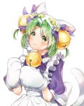 1girl absurdres animal_ears animal_hat apron back_bow bangs bell bow cat_ears cat_hat cat_paws cat_tail choker dejiko di_gi_charat dress eyes_visible_through_hair fang flower_ornament frilled_apron frills green_eyes green_hair hair_bell hair_ornament hat highres jingle_bell looking_at_viewer maid_apron neck_bell parted_bangs paws ppppp_pink3 puffy_short_sleeves puffy_sleeves purple_dress ribbon ribbon_choker short_hair short_sleeves simple_background skin_fang smile solo tail upper_body white_apron white_background white_tail