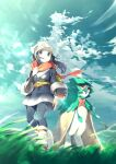 1girl arm_at_side black_hair closed_mouth clouds commentary_request day decidueye eyelashes female_protagonist_(pokemon_legends:_arceus) floating_hair floating_scarf gen_7_pokemon grass grey_eyes hand_up head_scarf highres knees long_hair outdoors pantyhose pokemon pokemon_(creature) pokemon_(game) pokemon_legends:_arceus ponytail red_scarf rindoriko sash scarf sky socks standing white_headwear white_legwear
