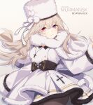 1girl absurdres azur_lane belt black_belt black_legwear blonde_hair character_name closed_mouth coat copyright_name cross cross_necklace dress english_text eyebrows_visible_through_hair fur-trimmed_coat fur_trim heterochromia highres jewelry long_hair looking_at_viewer murmansk_(azur_lane) necklace northern_parliament_(emblem) pantyhose papakha pink_hair rabe26k russian_text simple_background smile solo_focus violet_eyes white_coat white_dress white_headwear