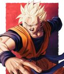 1boy absurdres amputee blonde_hair cowboy_shot dougi dragon_ball dragon_ball_z fighting_stance foreshortening green_eyes highres huge_filesize looking_at_viewer looking_to_the_side male_cleavage male_focus muscular muscular_male older orange_pants orange_shirt scar scar_on_cheek scar_on_face shirt solo son_gohan_(future) spiky_hair studio_viga wind
