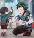 2boys arm_up artist_name belt_pouch black_footwear black_hair black_shorts blurry blurry_background blush boku_no_hero_academia boots child closed_eyes commentary cross-laced_footwear earpiece elbow_gloves facing_another figure fingernails freckles gloves green_hair green_jumpsuit green_legwear grin height_difference high_five highres holding hood hood_down hoodie jumpsuit knee_pads lace-up_boots long_sleeves male_focus mask mask_around_neck mask_removed microphone midoriya_izuku mouth_mask multiple_boys pouch red_footwear shoes short_hair shorts smile socks squatting twitter_username usshi_(usi_dada) white_gloves