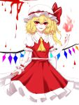 1girl absurdres ascot back_bow bangs blonde_hair blood bow breasts cowboy_shot cropped_legs crystal eyebrows_visible_through_hair fangs fingernails fire flame flandre_scarlet frilled_shirt_collar frills hand_up hat hat_bow highres kfre_(gehm8472) looking_at_viewer medium_hair mob_cap nail_polish one_side_up parted_lips petticoat puffy_short_sleeves puffy_sleeves pyrokinesis red_bow red_eyes red_nails red_skirt red_vest sharp_fingernails short_sleeves simple_background skirt skirt_set slit_pupils small_breasts smile solo standing touhou vest white_background white_bow white_headwear wings wrist_cuffs yellow_neckwear