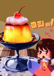1girl absurdres ascot bangs blush_stickers bow brown_eyes brown_hair caramel cherry commentary_request cookie_(touhou) detached_sleeves dish dress feet_out_of_frame food food_focus frilled_hair_tubes frills fruit hair_bow hair_tubes hakurei_reimu heart highres looking_at_viewer minigirl open_mouth psychic_parrot pudding red_bow red_dress sakenomi_(cookie) short_hair sleeves_past_wrists solo table touhou triangle_mouth whipped_cream white_sleeves yellow_neckwear
