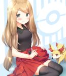 1girl bare_arms black_legwear blonde_hair blush closed_mouth collared_shirt commentary_request eyebrows_visible_through_hair fennekin gen_6_pokemon grey_eyes hat holding holding_clothes holding_hat kamowasa looking_at_viewer pleated_skirt poke_ball_symbol pokemon pokemon_(creature) pokemon_(game) pokemon_xy red_headwear red_skirt serena_(pokemon) shirt sitting skirt sleeveless sleeveless_shirt smile starter_pokemon thigh-highs