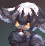 1girl animal_ears aqua_background bangs bare_shoulders blood bloody_hands body_fur chikichi claws commentary_request dark_skin dark_skinned_female faputa finger_licking flat_chest furry gradient gradient_background hair_ornament licking looking_up made_in_abyss open_mouth orange_eyes sharp_teeth short_hair simple_background solo teeth tongue tongue_out upper_body white_fur white_hair