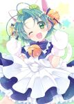 17ho_10ban ;d apron bangs bell blue_dress blue_neckwear bow bowtie dejiko di_gi_charat dress eyes_visible_through_hair gloves green_eyes green_hair hair_bell hair_ornament happy jingle_bell looking_at_viewer maid_apron neck_bell one_eye_closed open_mouth paw_gloves paws short_hair short_sleeves smile solo white_apron