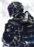 1boy bondrewd chikichi coat commentary_request from_side glowing helmet highres made_in_abyss male_focus monochrome simple_background solo spot_color upper_body white_background