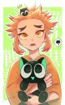 1boy animal big_eyes black_eyes blonde_hair border cat fangs forehead green_background hair_up highres holding holding_animal holding_cat japanese_clothes kameoka908 kimetsu_no_yaiba kimono lower_teeth male_focus multicolored_hair open_mouth parted_lips ponytail redhead rengoku_senjurou sidelocks solo thick_eyebrows tsurime two-tone_hair upper_body white_background white_border yellow_eyes yellow_kimono