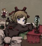 1girl alcohol arms_on_table awk_chan bangs blonde_hair blue_eyes blush bow brown_background doll flower frilled_shirt frilled_shirt_collar frilled_sleeves frills hair_between_eyes highres ink_bottle jar light_smile lily_of_the_valley looking_at_viewer medicine_melancholy paper puffy_short_sleeves puffy_sleeves red_bow red_neckwear red_ribbon ribbon shirt short_hair short_sleeves simple_background solo su-san table tablecloth touhou wavy_hair white_ribbon