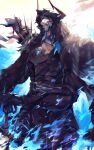 1boy armor backlighting belt black_sclera blue_eyes blue_fire breastplate chikichi colored_sclera commentary_request fate/grand_order fate_(series) fire gauntlets glowing glowing_eyes hands_together highres hood horns king_hassan_(fate) light_rays male_focus planted_weapon shoulder_armor shoulder_spikes skull solo spikes standing sword weapon