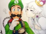 1boy 1girl blowing_kiss blue_eyes colored ghost long_hair luigi mario_(series) nintendo omar_dogan princess_king_boo purple_eyes simple_background super_crown traditional_media white_background white_hair