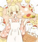 1girl animal animal_on_head apron bangs basket bird blonde_hair blunt_bangs blush chick chicken egg floral_print food highres holding holding_plate nada_namie omelet omurice on_head open_mouth original pink_background plate ponytail sidelocks signature simple_background wa_maid wide_sleeves yellow_eyes