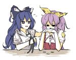 2girls blue_hair bow consoling defeat hair_bow hands_on_own_face hood hoodie long_hair multiple_girls patches peroponesosu. pink_hair poverty stuffed_animal stuffed_cat stuffed_toy torn_clothes touhou trait_connection very_long_hair watatsuki_no_yorihime yen yorigami_shion