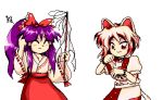 2girls animal_ears bell brown_eyes cat_ears cat_tail closed_eyes cowboy_shot dress gohei hakurei_reimu hakurei_reimu_(pc-98) japanese_clothes kostcop long_hair looking_at_viewer lowres maneki-neko midriff miko multicolored multicolored_clothes multicolored_dress multicolored_shirt multiple_girls neck_bell patches pc98 pixel_art purple_hair red_dress scratching_head short_hair short_sleeves skirt smile tail touhou unconnected_marketeers unnamed_cat_girl_(touhou) white_background